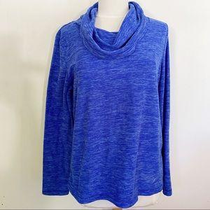 EXERTEK plush space dye brilliant blue cowl top L